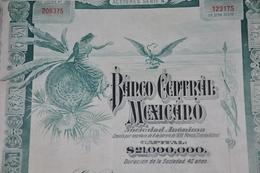 Banco Central Mexicano Action De 100 Ps Série A - Mexico 1905 - Bank En Verzekering