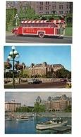 3 Different VICTORIA, British Columbia, Canada, Empress Hotel, Tweed Tours Bus, Old Chrome Postcards - Victoria