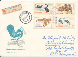 Romania Registered Cover Sent To Hungary Tirgu Mures 3-11-1964 Stamps On Front And Backside Of The Cover - Covers & Documents