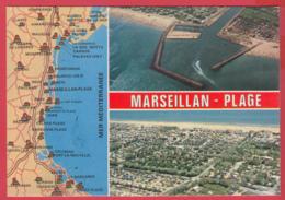 CP-34- MARSEILLAN-PLAGE - 2 Vues Aériennes Et Carte Du Littoral Languedocien * 2 SCAN- - Other Municipalities