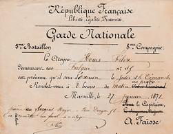 GUERRE 1870/71 - GARDE NATIONALE 5° Bataillon 8° Cie - CONVOCATION D'EXERCICE - Historische Documenten