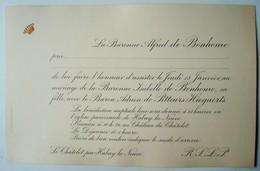 Invitation Mariage Isabelle De Bonhome & Adrien De Pitteurs Hiegaerts. - Habay-la-Neuve 1914. - Mariage