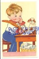 Petit Garçon Qui écrit Une Lettre Avec Une Grande Plume, Petit Chien. Coloprint 7218 - Illustrateurs & Photographes