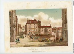 """LITHO. FONVILLE 1851, Imp. BRUNET FIL - 25/ LYON - """"PLACE CROIX-PAQUET, GRAND SÉMINAIRE - Lithographies"""