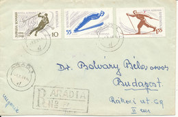 Romania Registered Cover Sent To Hungary Arad 1-7-1961 Stamps On Front And Backside Of The Cover - 1948-.... Republics