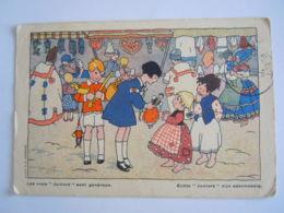 Illustration Sinterklaas Saint Nicolas Enfants Jouers Kinderen  Croix-Rouge Belgique Rode Kruis Van Belgie Circulée 1938 - Saint-Nicolas