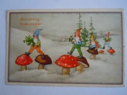 Gelukkig Nieuwjaar Kabouters Paddestoelen Gnomes Champignons BR Gelopen 1935 - Nouvel An