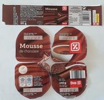 5 ETIQUETAS MOUSSE DE CHOCOLATE. USADO - USED. - Etiquetas