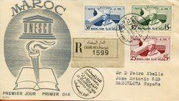 Maroc ; FDC 1958,Inauguretion Du Palais De L'UNESCO à Paris ;TP N°386/388;Morocco;Marruecos - Maroc (1956-...)