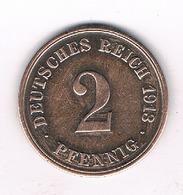 2 PFENNIG 1913  J    DUITSLAND /9212/ - [ 2] 1871-1918 : Imperio Alemán