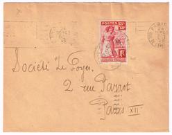 401 Aide Aux Rapatriés D'Espagne Obl Méca Paris Rue De L'épée Du 24/10/1938 - Postmark Collection (Covers)