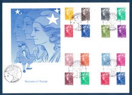 2008 - GRANDE ENVELOPPE PREMIER JOUR Avec SÉRIE MARIANNE DE L'EUROPE BEAUJARD (dt ROULETTE) CACHET COMMEMORATIF AMIENS - 2000-2009