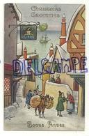 """Christmas Greetings. Bonne Année. Village Portuaire, Passants, Enseigne """"Lord Nelson"""". Signée Lewin. 1935 - Autres Illustrateurs"""