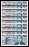 Mexico Lot Bundle 10 Banknotes 50 Pesos 1981 Pick 73 Serie JW SC UNC - Mexiko