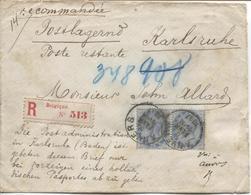 CL15/ TP 40 (paire) S/L.recommandée C.Anvers 5 FEVR11-M 1887 > Poste Restante / Postlagernd Karlsruhe - 1883 Leopold II