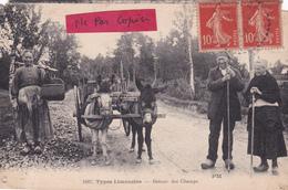 23-87-TYPES LIMOUSINS- RETOUR Des CHAMPS- ATTELAGE D'ÂNES Et PAYSANS-P. MOTHE -Ecrite 12/9/1920-cachet POINTILLE BOUSSAC - Francia