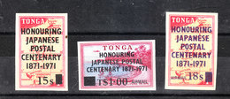 "Tonga - 1971. I 3 Francobolli "" Centenario Poste Giapponesi "".  The 3 ""Japanese Post Centenary"" Stamps.MNH - Posta"