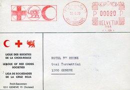 49694 Switzerland, Red Meter Freistempel Ema, 1970 Geneve, Ligue Des Societes De La Croix Rouge (front Of Cover) - Frankiermaschinen (FraMA)
