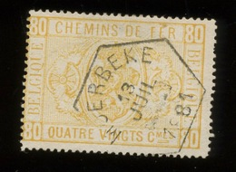 5  80c MOERBEKE 1881 Cote  30,- Euros  Car Trou D'épingle - Railway