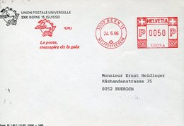 49700 Switzerland, Red Meter Freistempel Ema,  Geneve 1986,  UPU Weltpostverein Union Postale Univ. (front Of Cover) - Postage Meters