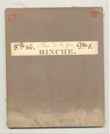 Carte De Géographie Toilée - BINCHE 1882 - Levée Et Nivelée 1866, Revue En 1879 (b271) - Cartes Géographiques