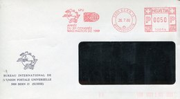 49704 Switzerland, Red Meter Freistempel Ema,  Geneve 1989,  UPU Weltpostverein Union Postale Univer.(front Of Cover) - Postage Meters