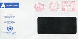49708 Switzerland, Red Meter Freistempel Ema,  Geneve 1998,world Meteorological Org. Organ.meteorologiq (front Of Cover) - Postage Meters