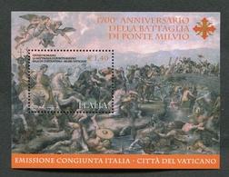 ITALIA 2012 - FOGLIETTO ANNIVERSARIO DELLA BATTAGLIA DI PONTE MILVIO - CONGIUNTA ITALIA/VATICANO - MNH** 122 - 6. 1946-.. Repubblica