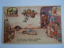 """Chats Humanisés Souris  """"Ne Fait Pas De Bruit Minette Elles Croient être Seules Coloprint 553762/5 Circulée 1963 - Animali Abbigliati"""