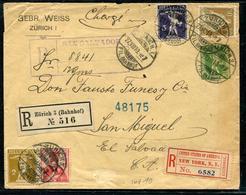SUISSE - ENTIER POSTAL - ENVELOPPE - 5c VERT + DIVERS RECOMMANDÉE DE ZURICH LE 27/8/1910 POUR SAN SALVADOR - RARE - Enteros Postales
