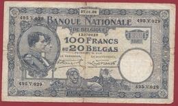 Belgique 100 Francs /20 Belgas Du 23/01/1928 Dans L 'état (4) - [ 2] 1831-... : Belgian Kingdom