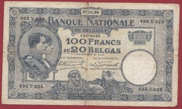 Belgique 100 Francs /20 Belgas Du 23/01/1928 Dans L 'état (4) - 100 Francs & 100 Francs-20 Belgas