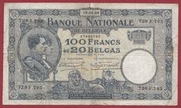 Belgique 100 Francs /20 Belgas Du 16/06/1928 Dans L 'état (6) - [ 2] 1831-... : Belgian Kingdom