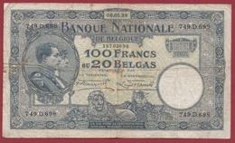 Belgique 100 Francs /20 Belgas Du 06/08/1928 Dans L 'état (7) - [ 2] 1831-... : Belgian Kingdom