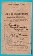 Levallois Perret Carte De Renseignements De 1940 Pour Personne Accompagnant Jeunes Enfants( Vieux Papiers) - Historische Documenten