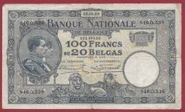 Belgique 100 Francs /20 Belgas Du 25/08/1928 Dans L 'état (10) - 100 Francs & 100 Francs-20 Belgas