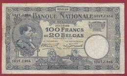 Belgique 100 Francs /20 Belgas Du 03/01/1929 Dans L 'état (14) - [ 2] 1831-... : Belgian Kingdom