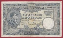 Belgique 100 Francs /20 Belgas Du 04/01/1929 Dans L 'état (15) - [ 2] 1831-... : Belgian Kingdom