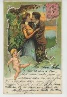 FEMMES - FRAU - LADY - Jolie Carte Fantaisie Couple Amoureux Et Ange CUPIDON - Donne