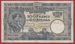 Belgique 100 Francs /20 Belgas Du 29/01/1929 Dans L 'état (16) - [ 2] 1831-... : Belgian Kingdom