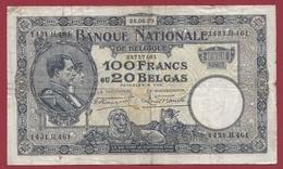 Belgique 100 Francs /20 Belgas Du 28/06/1929 Dans L 'état (17) - [ 2] 1831-... : Belgian Kingdom