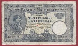 Belgique 100 Francs /20 Belgas Du 02/04/1930 Dans L 'état (18) - [ 2] 1831-... : Belgian Kingdom