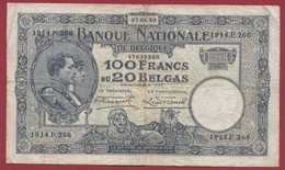 Belgique 100 Francs /20 Belgas Du 07/04/1930 Dans L 'état (19) - [ 2] 1831-... : Belgian Kingdom