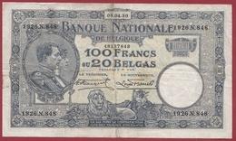 Belgique 100 Francs /20 Belgas Du 08/04/1930 Dans L 'état (20) - [ 2] 1831-... : Belgian Kingdom