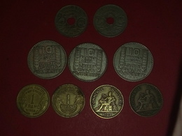 LOT DE 9 MONNAIES 10 FRANCS TURIN ARGENT  ET AUTRES Non Nettoyé - K. 10 Franchi