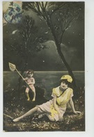 FEMMES - FRAU - LADY - Jolie Carte Fantaisie Portrait Femme Baigneuse Avec Enfant Tenant Une épuisette - Donne