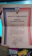 Certificat De Bonne Conduite Régiment Des Sapeurs Pompiers - Brandweer