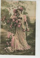 FEMMES - FRAU - LADY - Jolie Carte Fantaisie Portrait Femme Avec Fleurs - Donne