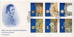 New Zealand Set And SS On 2 FDCs - Porcelain