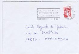CHARENTE-MARITIME - Flamme Illustrée à Gauche ROCHEFORT Du 3 - 6  1980 - Bicentenaire Départ De La Fayette - Marcophilie (Lettres)